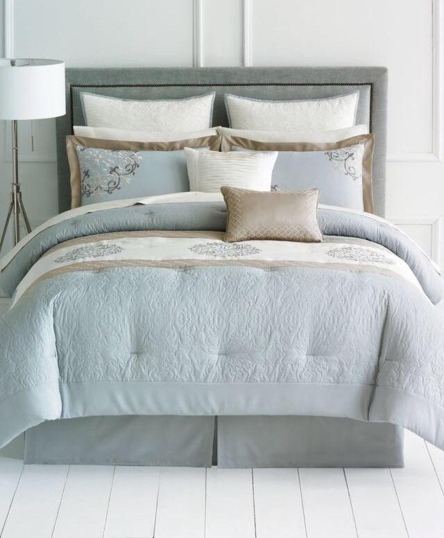 Nwt 8 Piece Bedding Set Light Blue Beige Ivory With