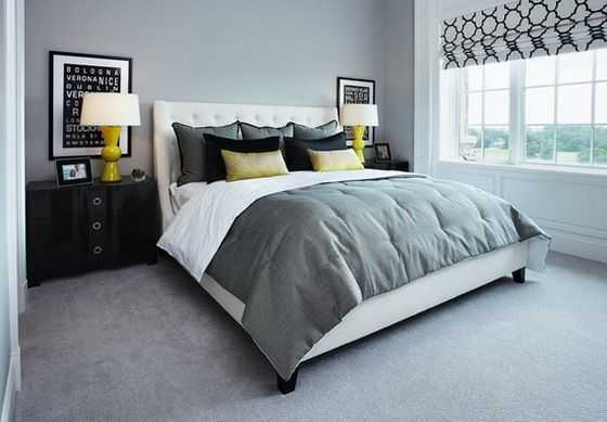 Grey Modern Apartment Bedroom With Soft Carpet Floor