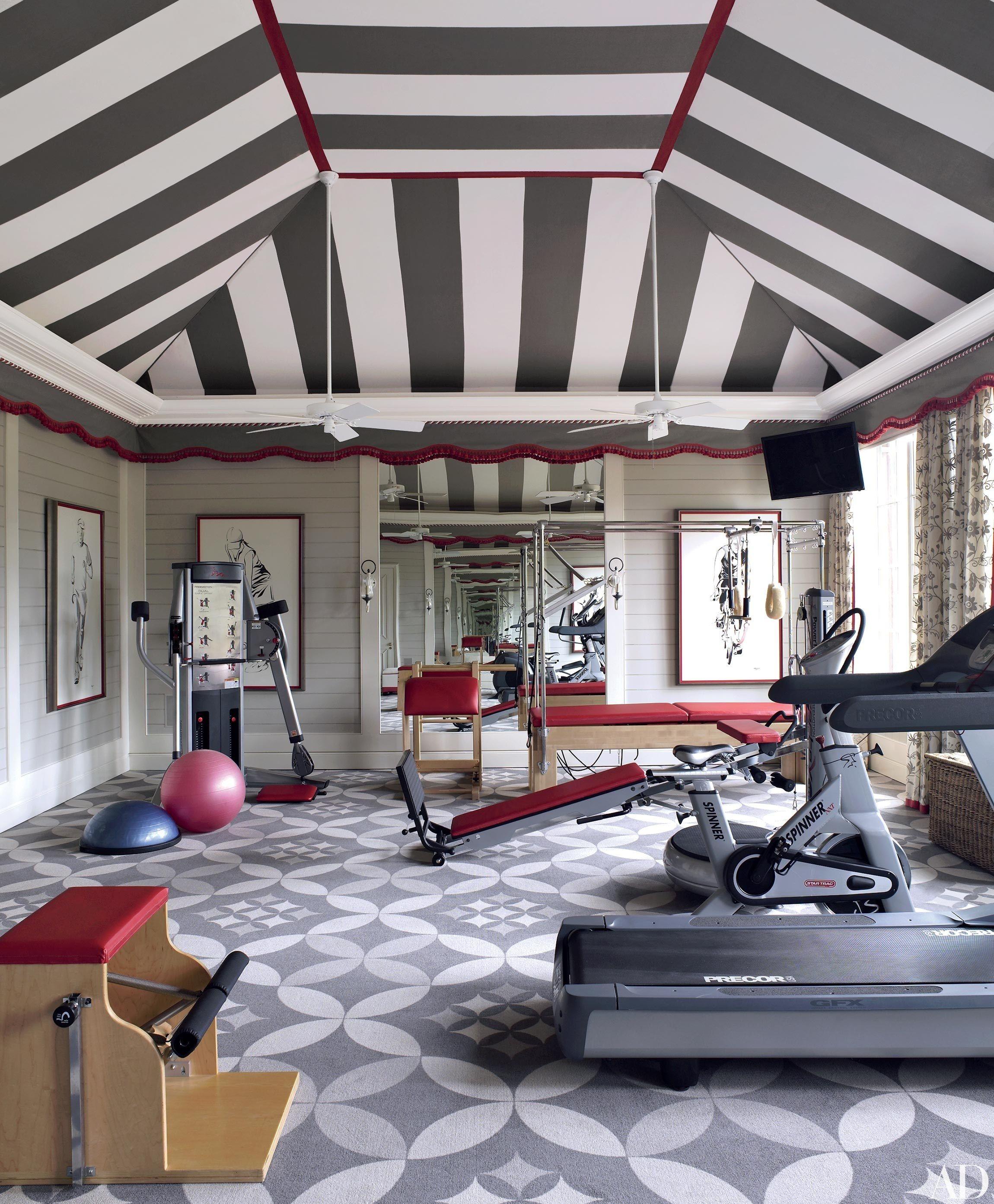 Graphic patterns give the exercise room of a mississippi house decorated by richard keith langham a fanciful attitude the bold carpeting is by durkan