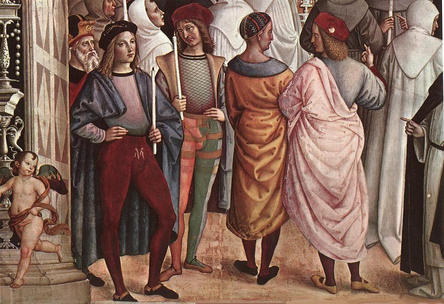 Pinturicchio (1452 ca.-1513) - Pio II canonizza Santa Caterina da Siena , dettaglio- affresco - 1502-1507 - Siena, Duomo, Libreria Piccolomini