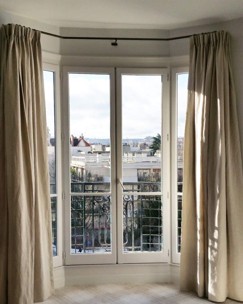 Tringle bow-window à angles droit sur mesure | rideaux | Pinterest ...