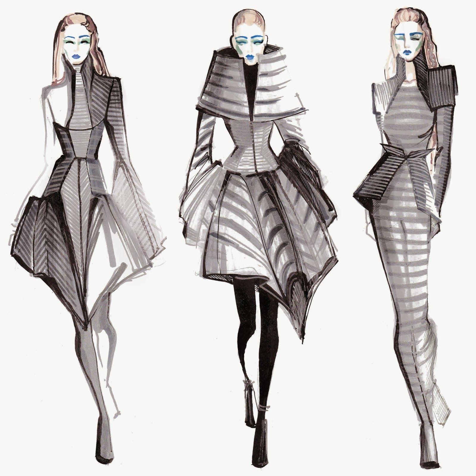 We Create You Inspired By Gareth Pugh Modeschetsen Modeschetsboek Technische Tekeningen
