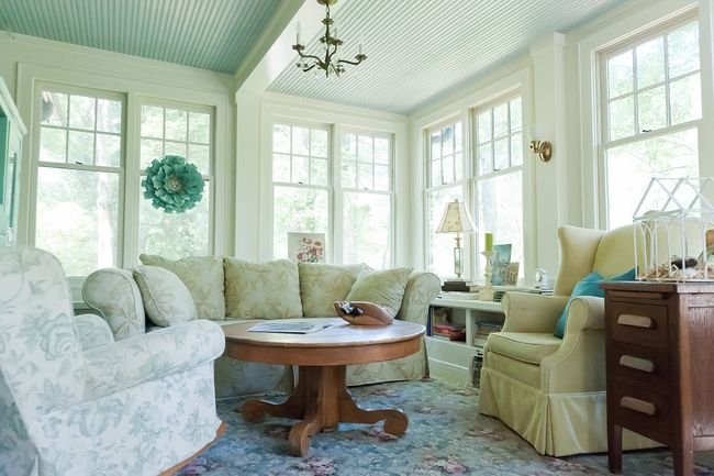The Enclosed Sunroom Porch Off The Living Room Is The Same Warm White As The Living Room Trim