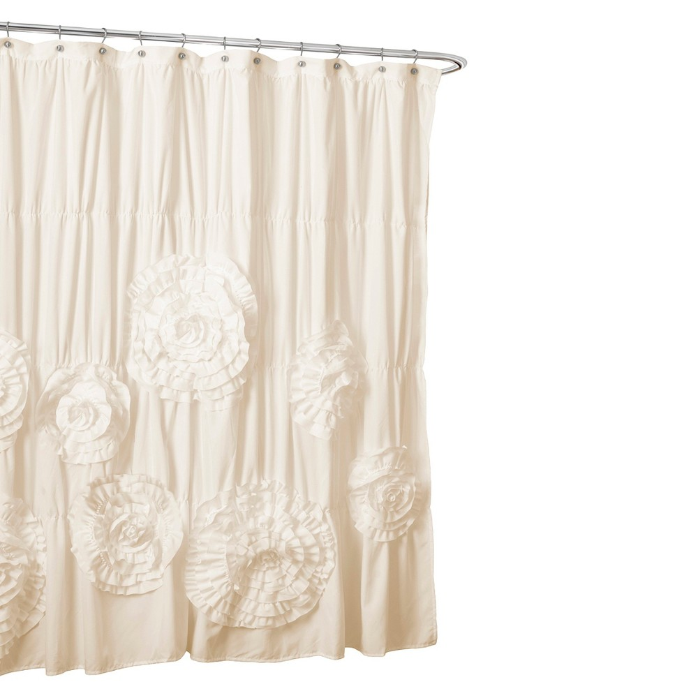 Serena Flower Texture Shower Curtain Off White Lush Decor With