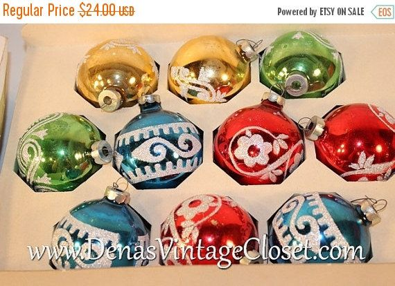30 off sale vintage holly glass christmas ornaments red blue green gold multi colored glitter - Vintage Christmas Ornaments For Sale