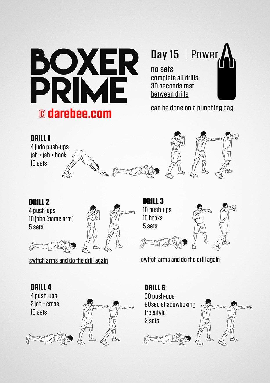 Boxer Prime 30 Day Fitness Program Boxing Workout Routine Boxing Workout Beginner Shadow Boxing Workout
