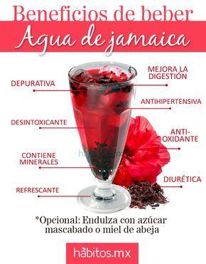 Agua de jamaica Receta: Hervir 2 puños grandes de flor de jamaica en 2 litros de agua durante 10 min, retiras la flor y endulzas al gusto, si quedo muy concentrada puedes agregar agua hasta darle el punto deseado =) con la flor de jamaica se hacen unos taquitos deli.. les paso la receta que yo hago con esta riquísima y nutritiva florecita!  https://www.facebook.com/habitosmx/photos/a.330502590386537.1073741827.108012575968874/358692374234225/?type=1