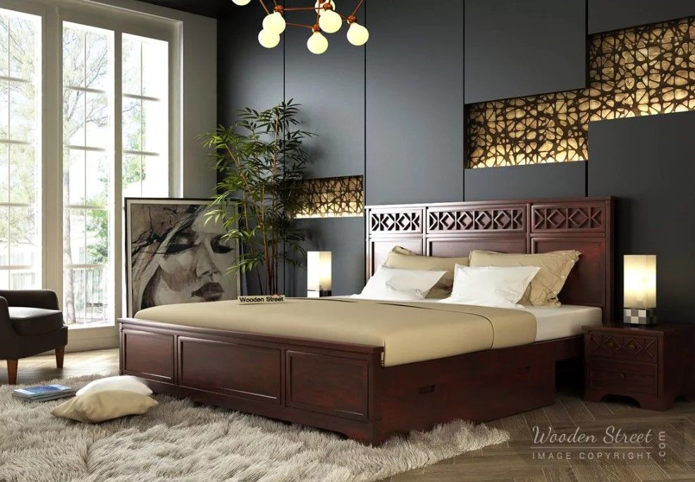 All We Want Is To Relax After A Long Day Make Your Bedroom Serene Cozy With Woodenstreet S Swirl Bed Furniture Design Luxurious Bedrooms Bedroom Bed Design