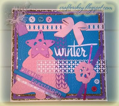 Pink Purple Knitted Christmas Card - Joy!Crafts 6002/0187 6002/0246 6002/2052 6002/2051 Marianne Design DF3418 DF3417 LR0380 Xcut Xcu 515910