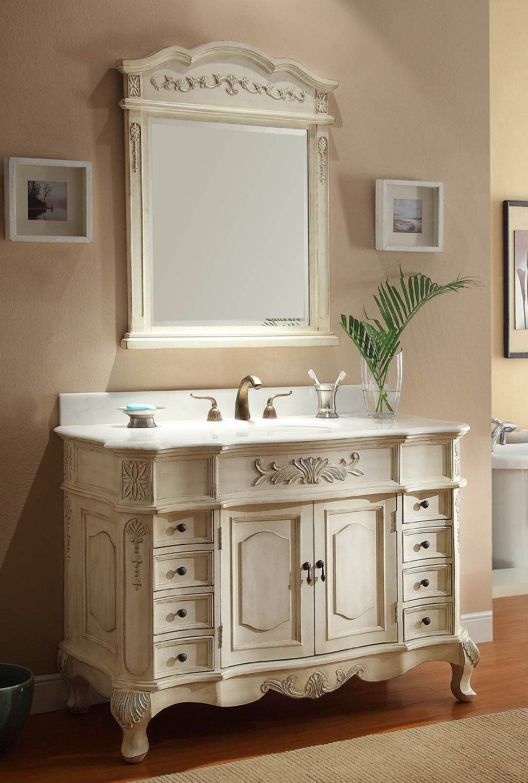48 inch Adelina Antique White Bathroom Vanity Fully
