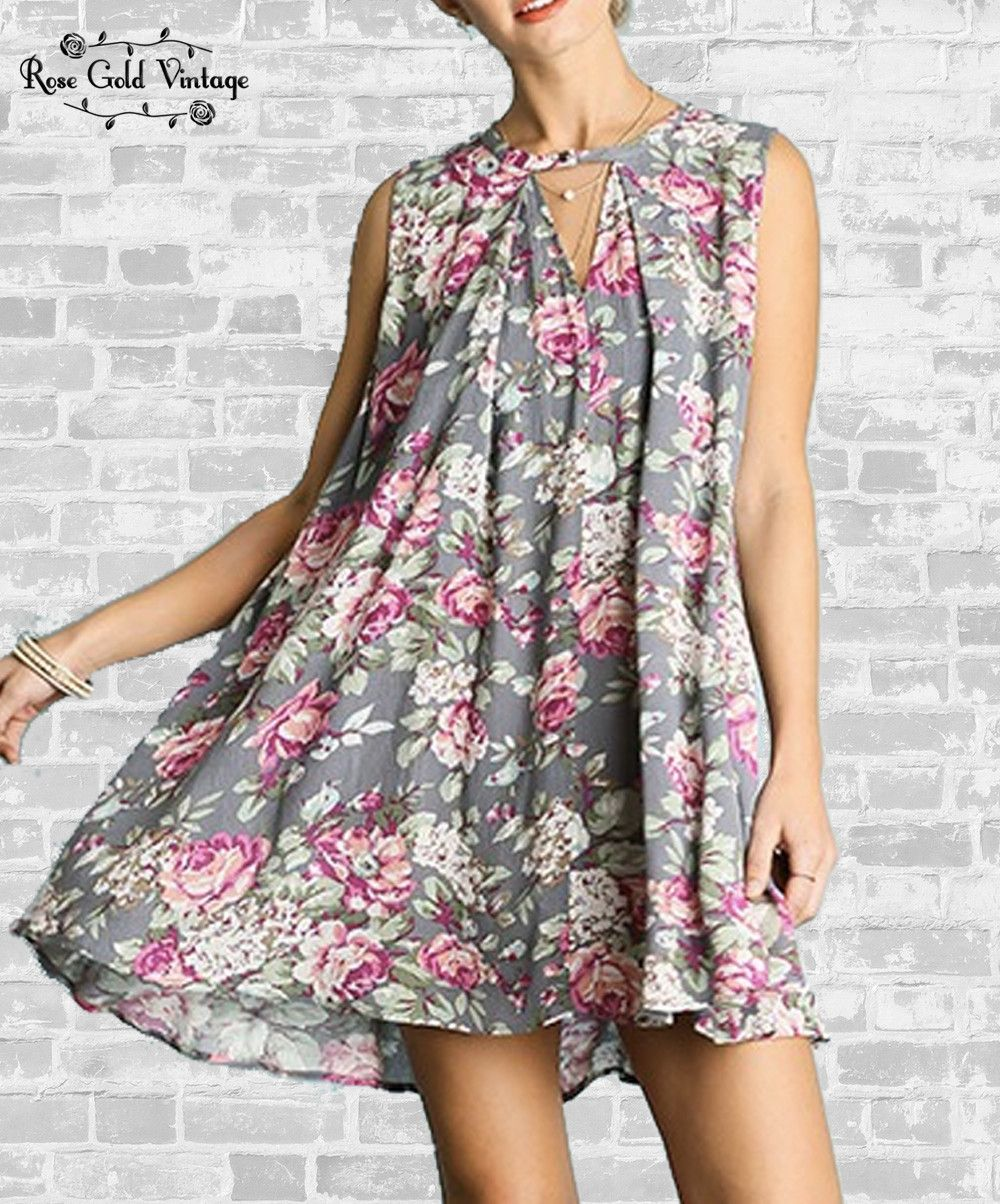 Gray floral swing dress ladies swings floral and gray