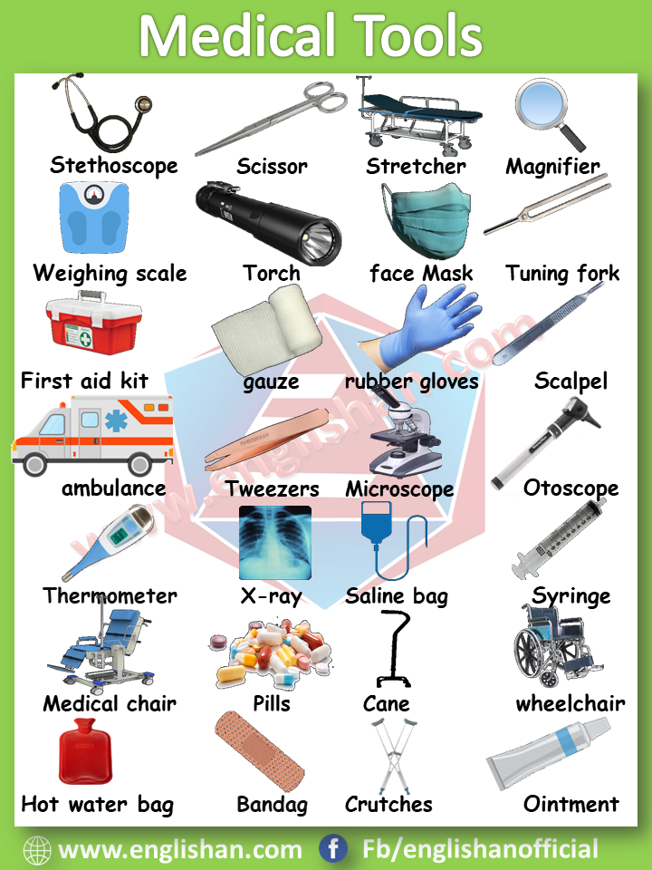 Medical Tools Vocabulary with images and Flashcards en