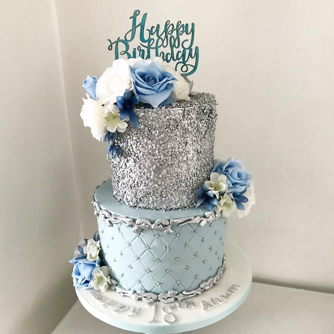 A Pretty Blue And Silver One For Anums 18th Cake