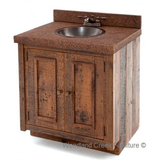 Barn Wood Vanity With Concrete Top By Woodland Creek Furniture