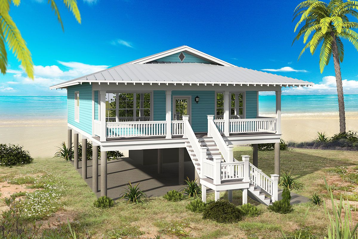 Plan 68480vr 2 Bed Beach Bungalow With Lots Of Options Coastal House Plans Cottage Style House Plans Small Beach Houses