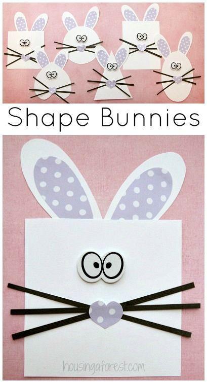 Shape Bunny Craft Easter Activity For Preschoolers
