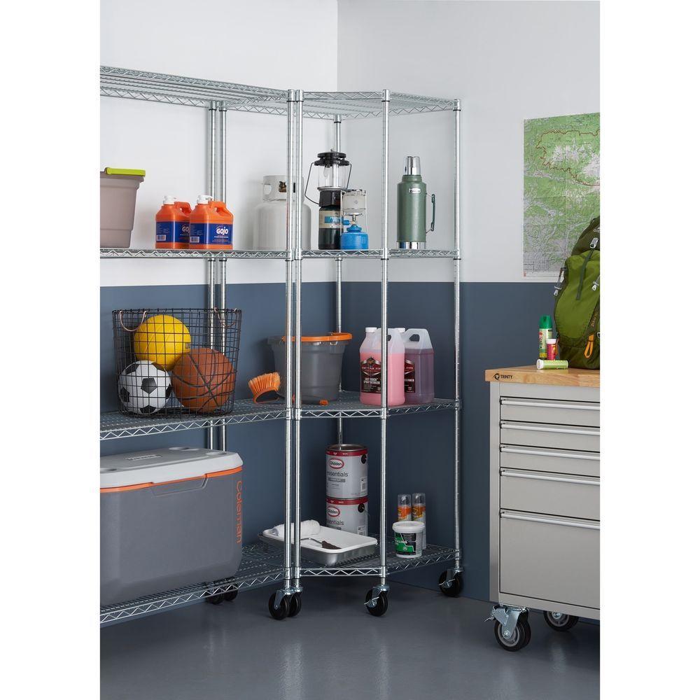 Corner Metal Shelving Rack With Wheels Storage Unit Chrome
