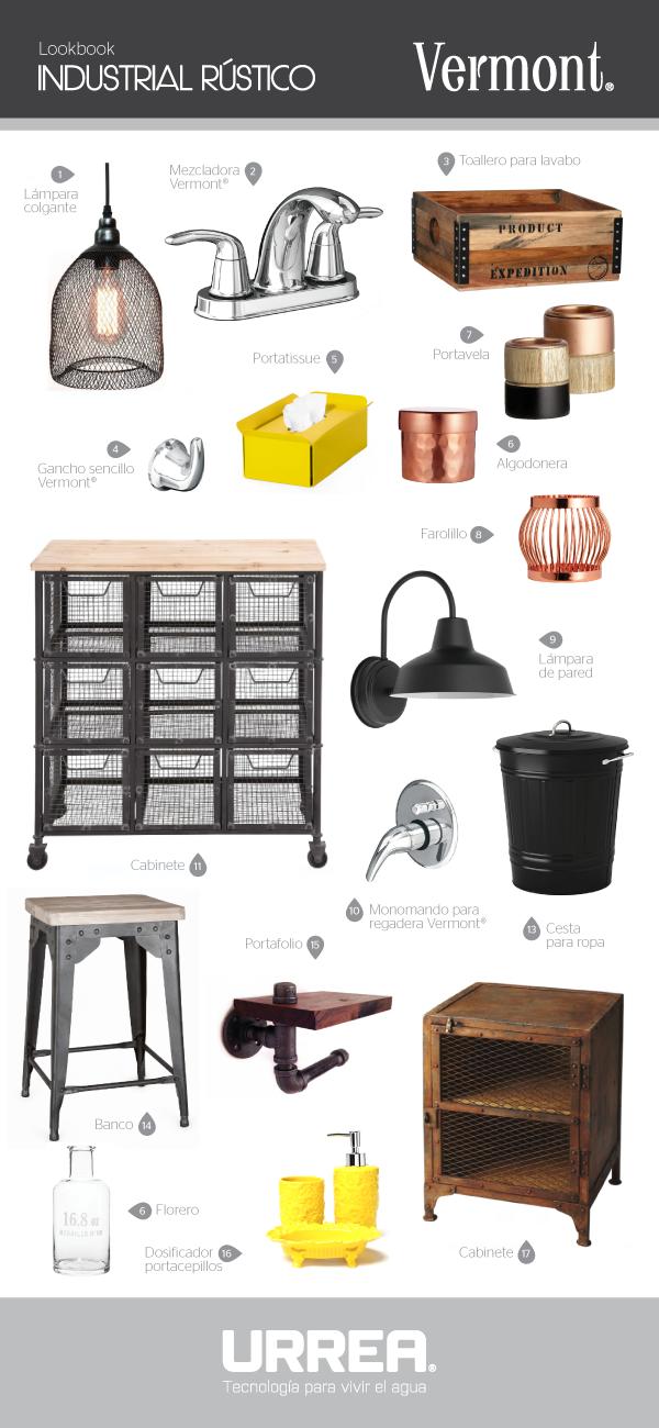 Nuestra colección Vermont hace muy buena combinación con un estilo industrial rústico. Guíate con nuestro lookbook para tener #ElBañoQueSueñas
