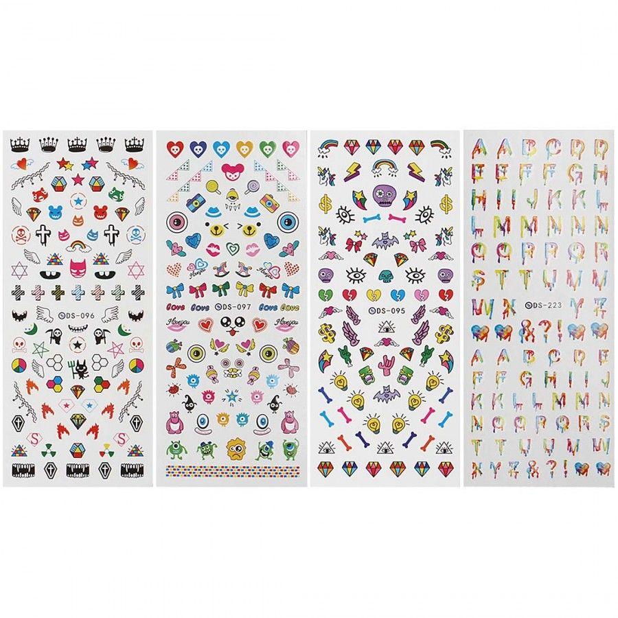 4 Sheet EDM Festival Themed Water Transfer Nail Art Decal Set ...