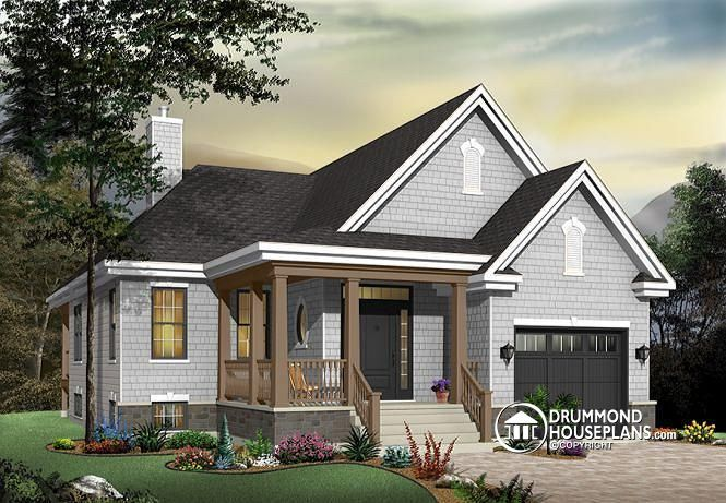 W3219 - Small Transitional house design with garage, double sided ...