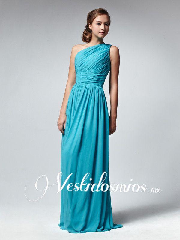 Chiffon Formal Solo Hombro Fruncido Azul Largo Vestido Formal VP125 ...