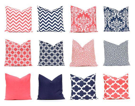 Coral Pillow CoversDecorative Pillow CoversNavy Blue Pillow