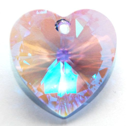 SWAROVSKI WILD HEART PENDANT 6240 12 MM CUSTOM COATED GLACIAL AQUA BLUE