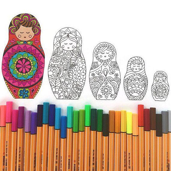 Descargar matryoshka muñeca para colorear página, página de adultos ...