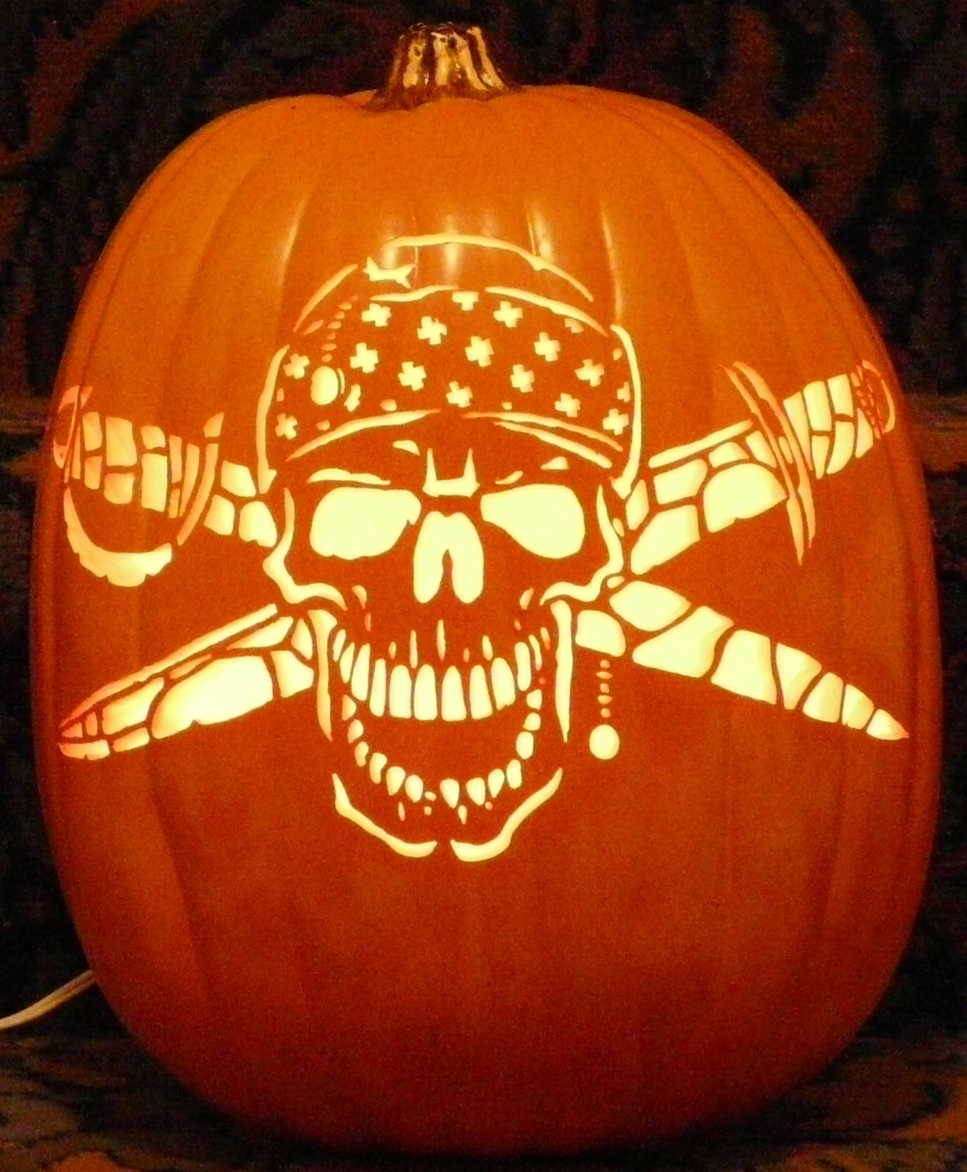 I love how this pirate skeleton foam pumpkin carved from a