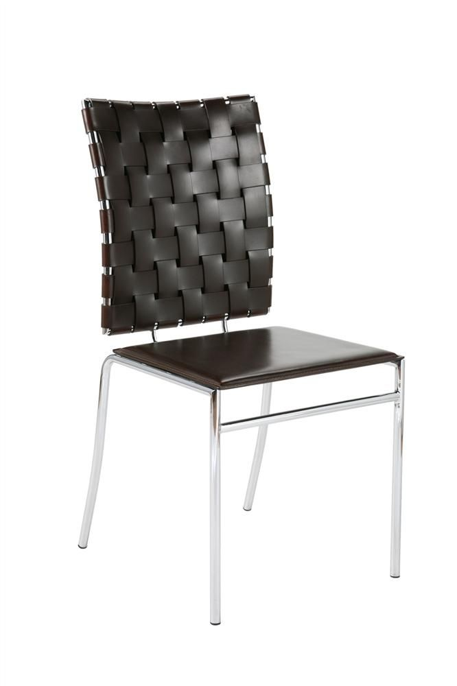 Euro Style Woven Stacking Chairs In Brown Leather And Chrome Set
