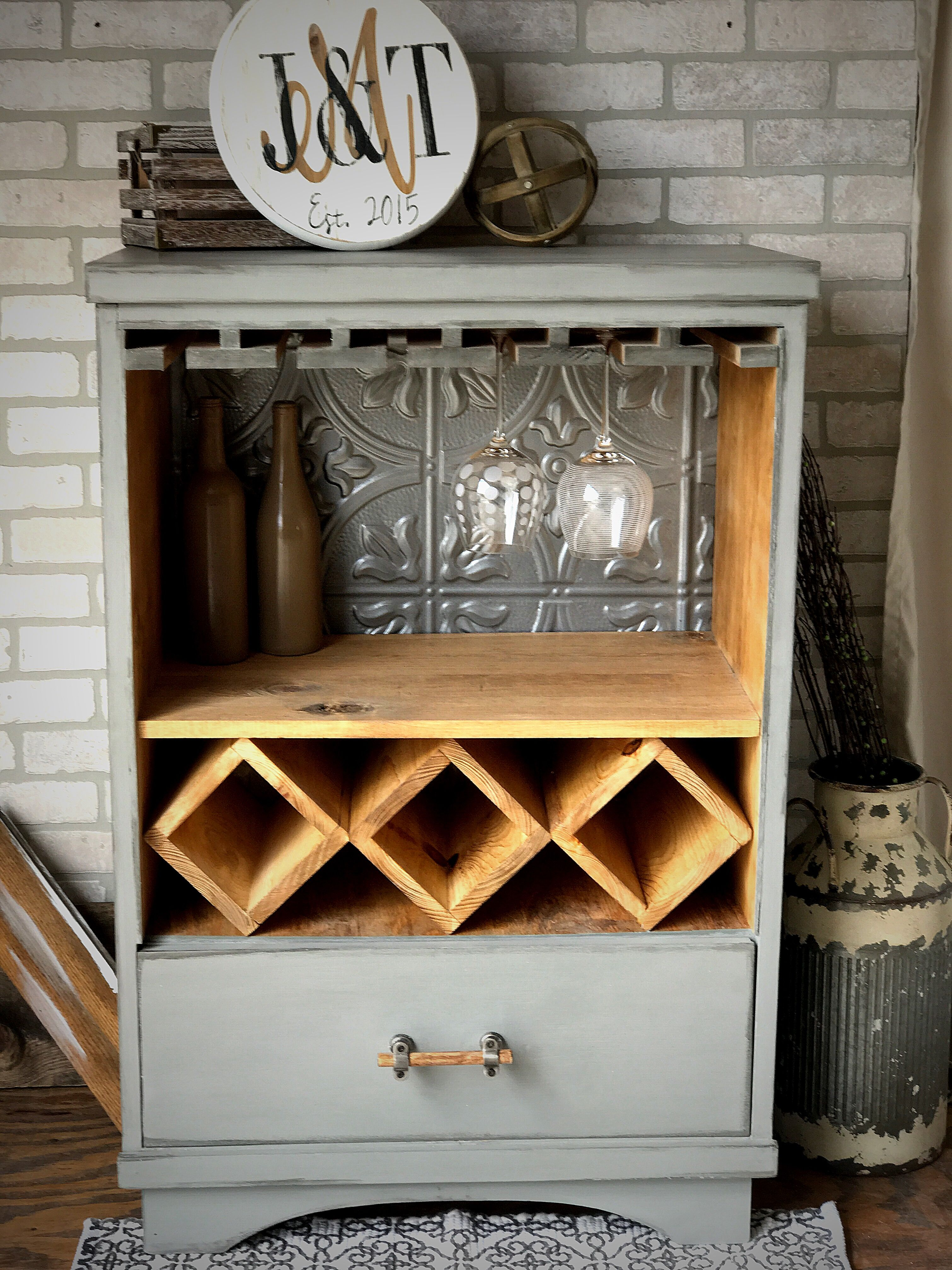 This Was A 4 Drawer Tall Dresser We Upcycled Into A Wine