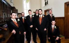 Brides, Bridesmaids & Blooms: Groomsmen In Orange ... Accessories, Please No Orange Prom Tuxedos :)