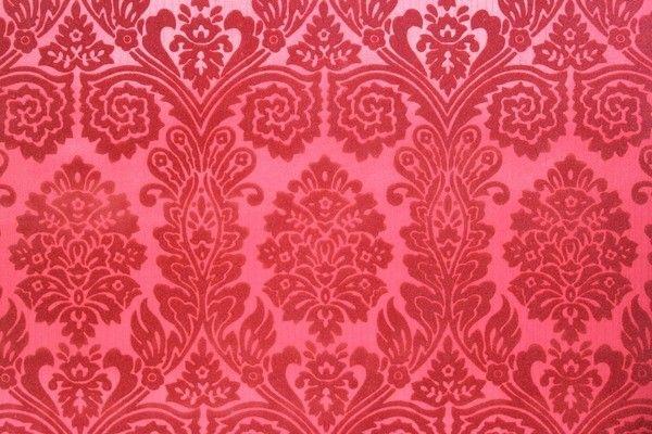 Red on Red Flocked Damask Design Vintage Wallpaper - Rosie's Vintage Wallpaper