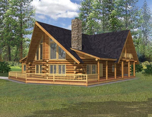 Log Style House Plan 87048 With 3 Bed 2 Bath 2 Car Garage Log Cabin House Plans Log Cabin Plans Log Home Plan