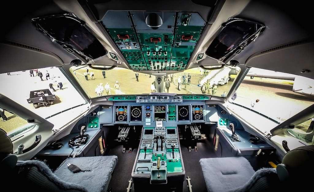 The Cockpit of UTAir's Sukhoi SuperJet 100 at Farnborough 2014