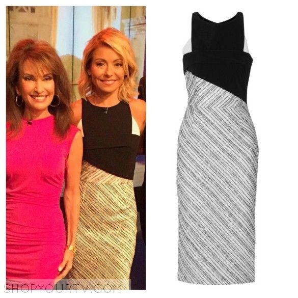 Live with Kelly: May 2016 Kelly's Black, White, and Grey Paneled Mixed Media Dress