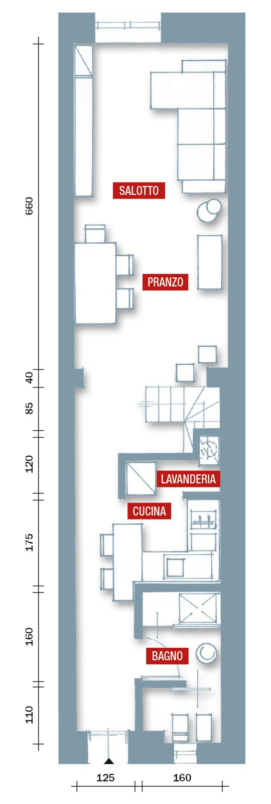 Una casa stretta e lunga che ottimizza lo spazio scala for Piccole planimetrie della casa con soppalco