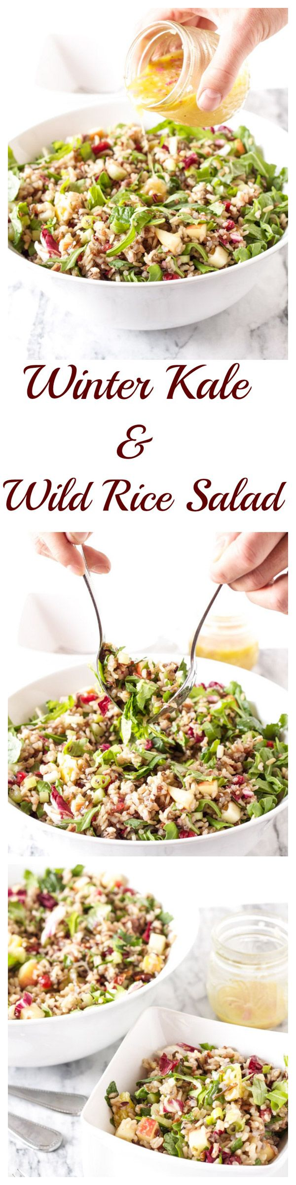 Winter Kale and Wild Rice Salad | www.reciperunner.com | A gorgeous, healthy…