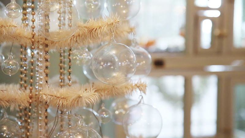 Skinny White Christmas Tree With Pearl Garlands