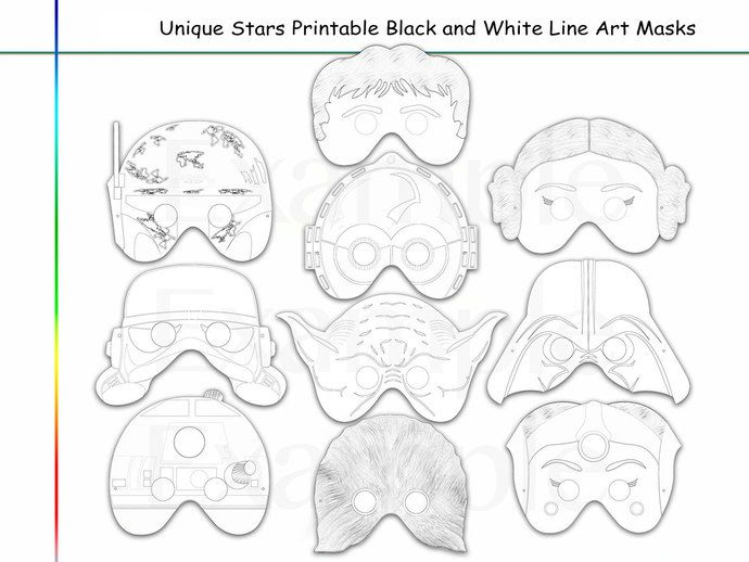 Coloring Pages Stars Party Printable Black And White Line Art Masks Kids Black And White Lines Unique Coloring Pages Star Wars Mask Printable