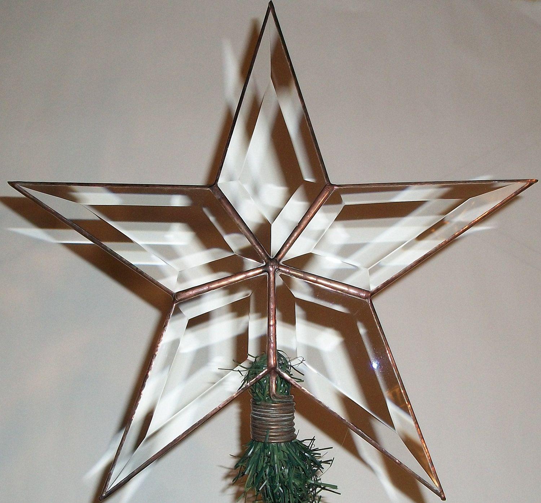Large Christmas Tree: Large Rustic Beveled Glass Texas Star Christmas Tree