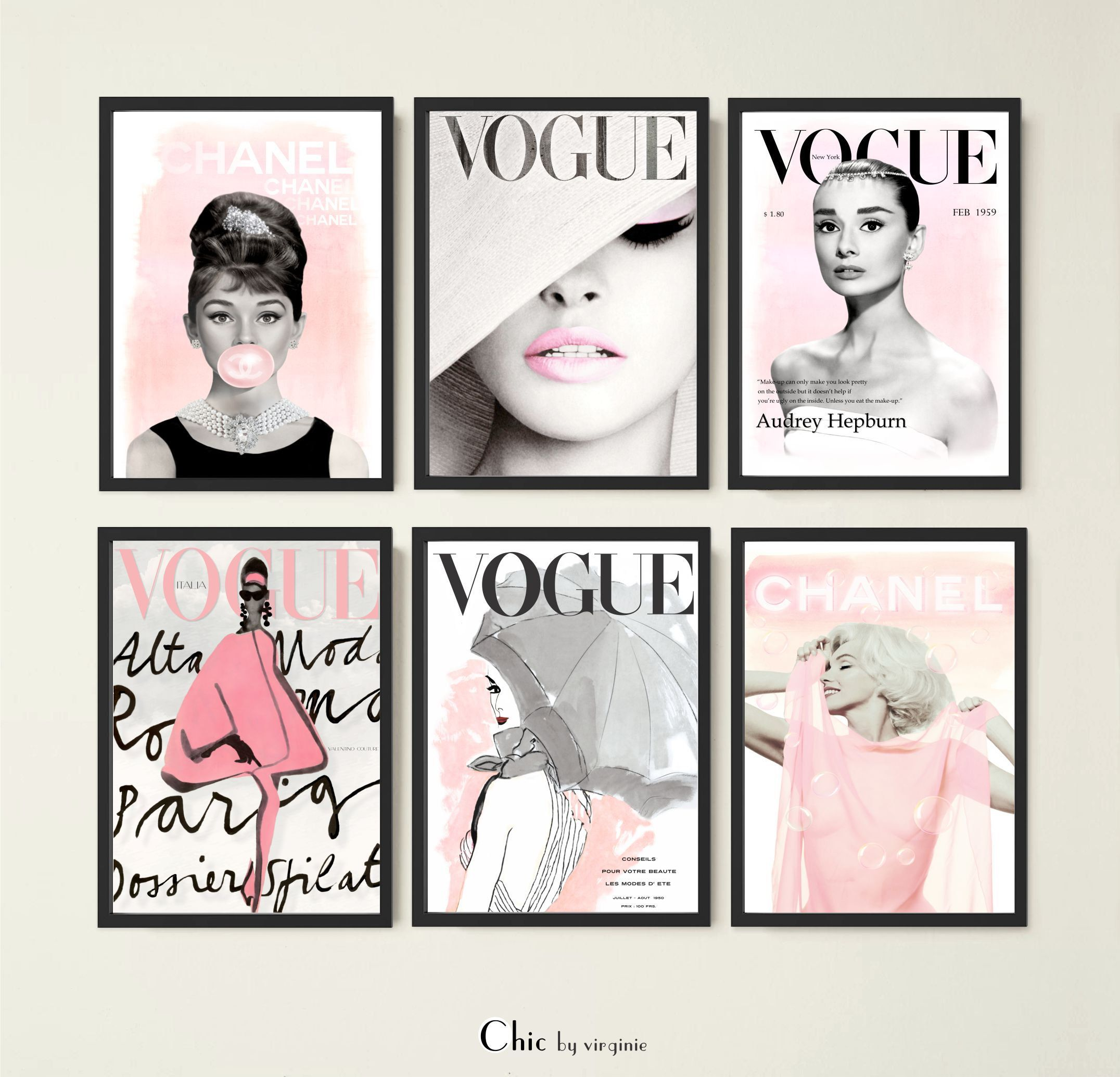 Fashion Wall Art Physical Set Of 6 Prints Vogue Posters Etsy Fashion Wall Art Wall Art Sets Art Set
