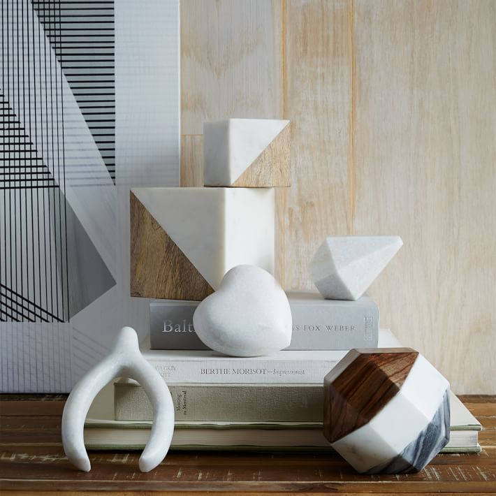 Marble + Wood Geometric Objects, Decorative Accents