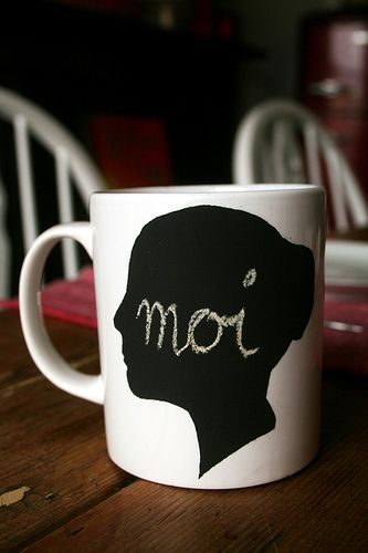 Love the idea of a chalkboard mug in different shapes. Love the silhouette but would be cute with a rain cloud ect.  Would be a great gift idea!