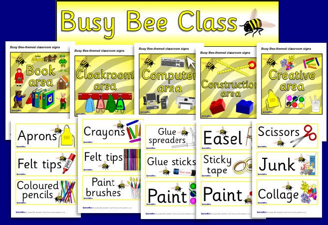 Busy Bee-themed signs and labels pack (SB1346) - SparkleBox | busy