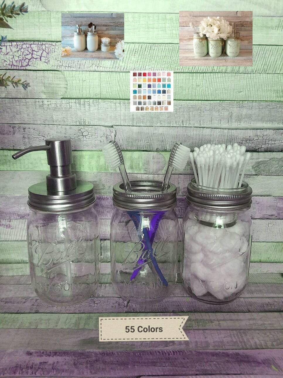 Rustic Farmhouse Clear Mason Jar Dispenser Toothbrush Jar Bathroom