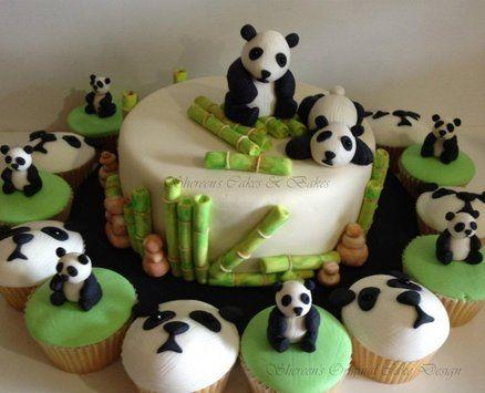 Panda Cake & Cupcakes - by ShereensCakes @ CakesDecor.com - cake decorating website
