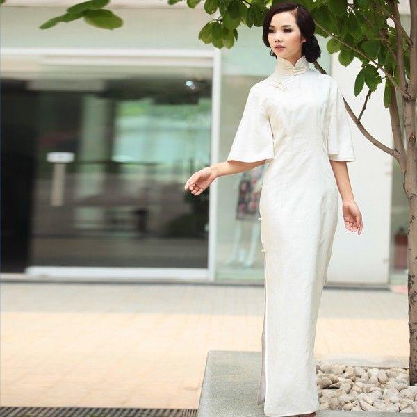 Fashion Chinese Cheongsam Dress White Half-long Sleeves . Angle Heart