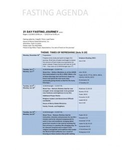 Fasting Agenda 2013 (House of Mercy Global Ministries)