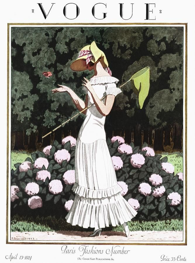 Photo of A Vintage Vogue Magazine Cover Of A Woman by Pierre Brissaud